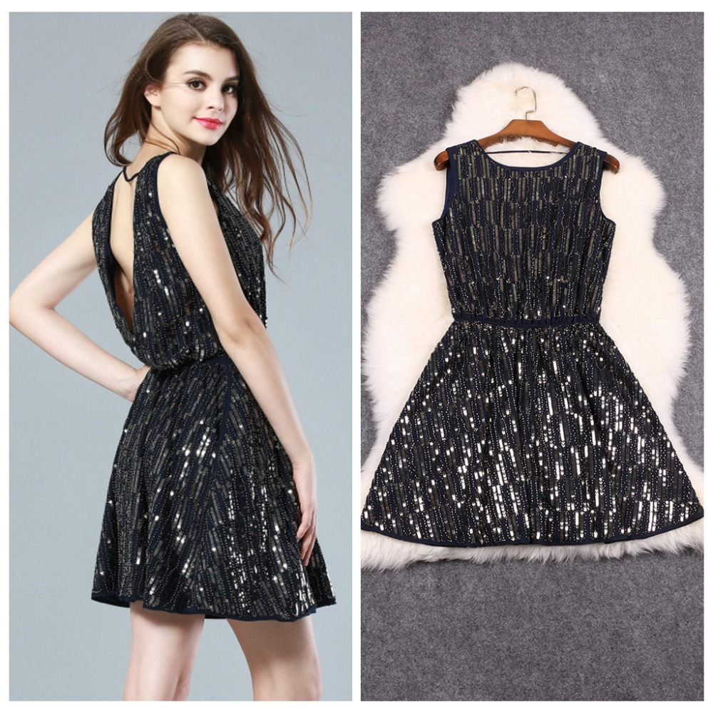 Luxury Women Party Dress Fashion Handed Beaded Sequined