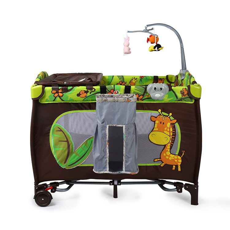 Multi-functional Baby Cribs Sleeping Bed Portable Folding Safe Baby Game Play Bed With Toy