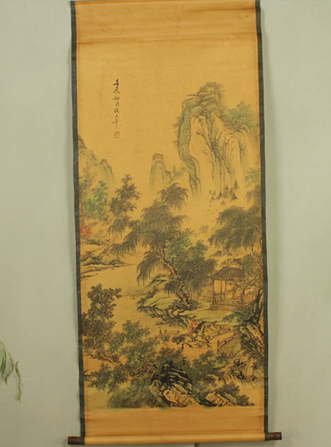 Antique painting traditional Chinese A person Horse Riding in the mountains painting scroll painting,old paper painting
