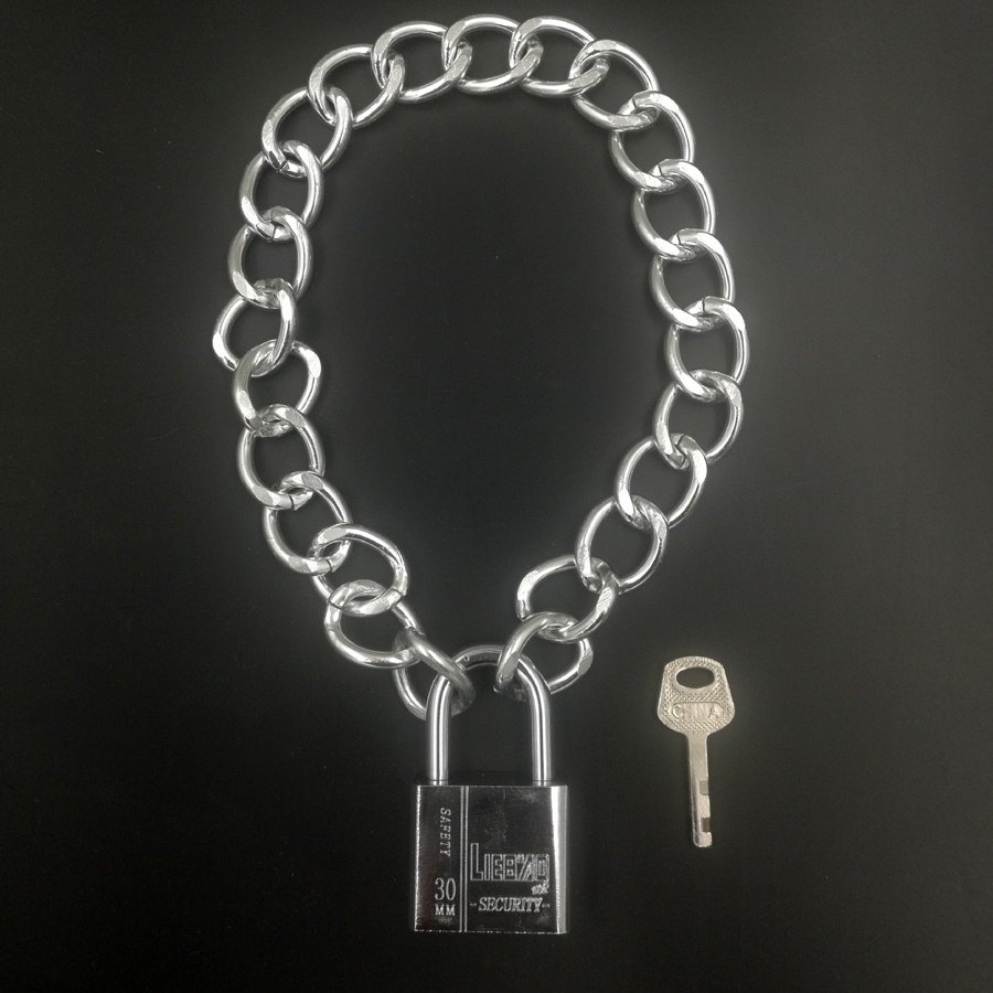 real PADLOCK WITH KEY charm pendant steampunk BDSM SUBMISSIVE COLLAR CHOKER LOCKING PERMANENT DAY fetish mad max inspired NW744