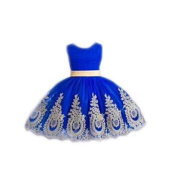 T04 2018 flower girl dresses Kids dress Kids baby clothing gold applique decoration belt  vestido real pictures