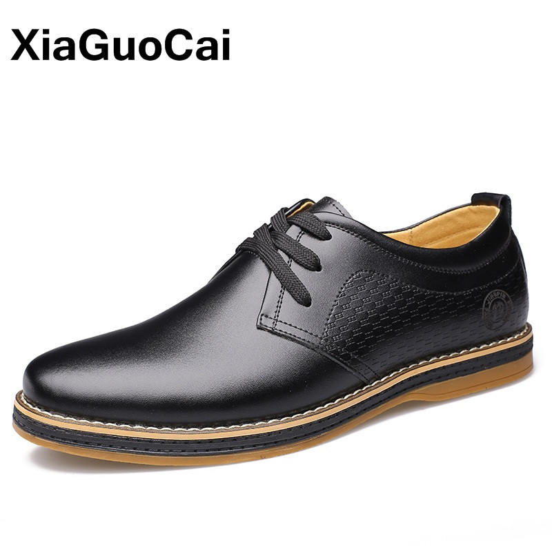 XiaGuoCai Business Men's Casual Shoes Breathable Lace Up Man Flats Male Social Shoe Split Leather Footwear Oxford Shoes For Men leather casual shoes zapatillas hombre casual sapatos business shoes oxford flats hand made man shoe free shipping sv comfort