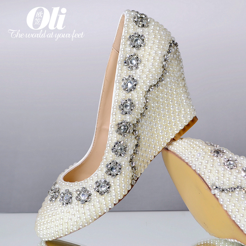 Fashion plus size genuine leather white pearl font b shoes b font rhinestone wedding font b