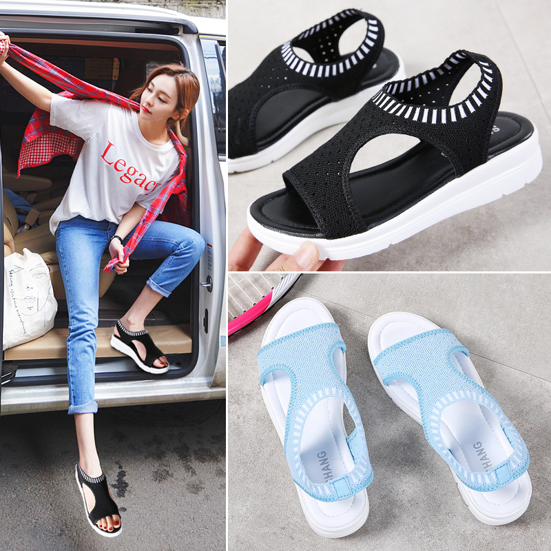2018 summer new student fashion preparation female sandals thick bottom set foot shoes fashion running wild slippers 60