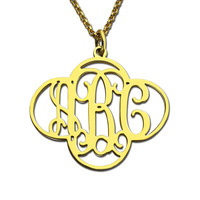 AILIN Personalized Monogram Clover Necklace Cut Out 4 leaf clover Necklace Bring You Luck Gold Color Name Jewelry