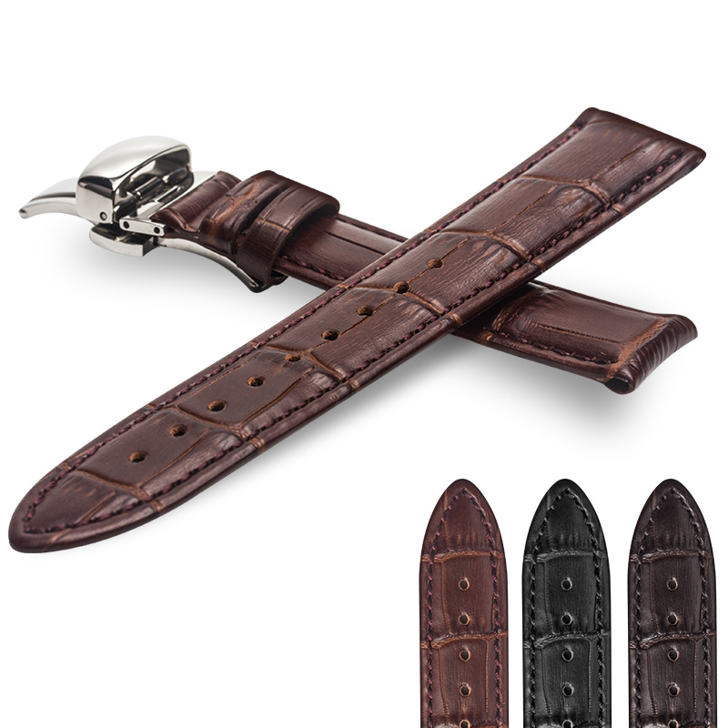 9c325f6f3f1 ROPS High Quality Leather Men Watch Strap For Tissot Omega IWC 18mm 20mm 22mm  watch accessories-in Watchbands from Watches on Aliexpress.com