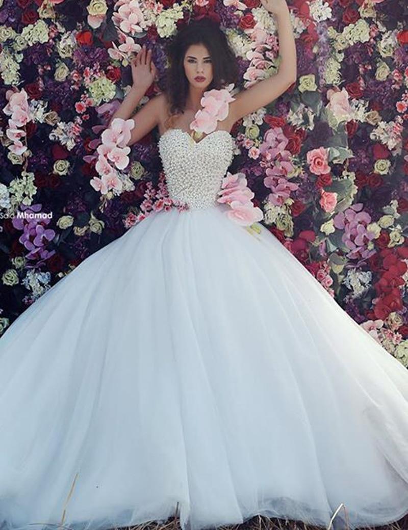 Wedding dress 2017 with tulle pearl diamond ball for Puffy wedding dresses with diamonds