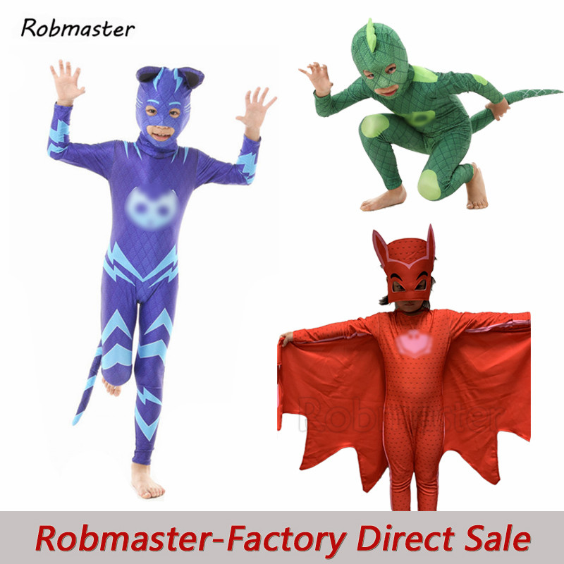 Boys Girls Cartoon Hero Catboy Gekko Cosplay Masks Tail Costume Owlette Cloak Outfits Birthday Party For Halloween Kid Costume