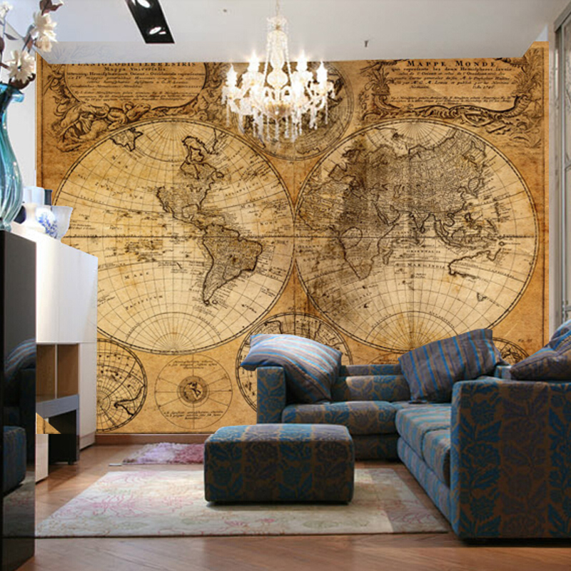 beibehang Custom Wallpaper Retro Nostalgic Relief Metal World Map ...