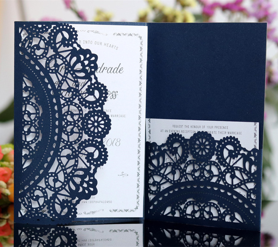 Laser cut wedding invitations pocket party invites for marriage graduation business customized printing free ship