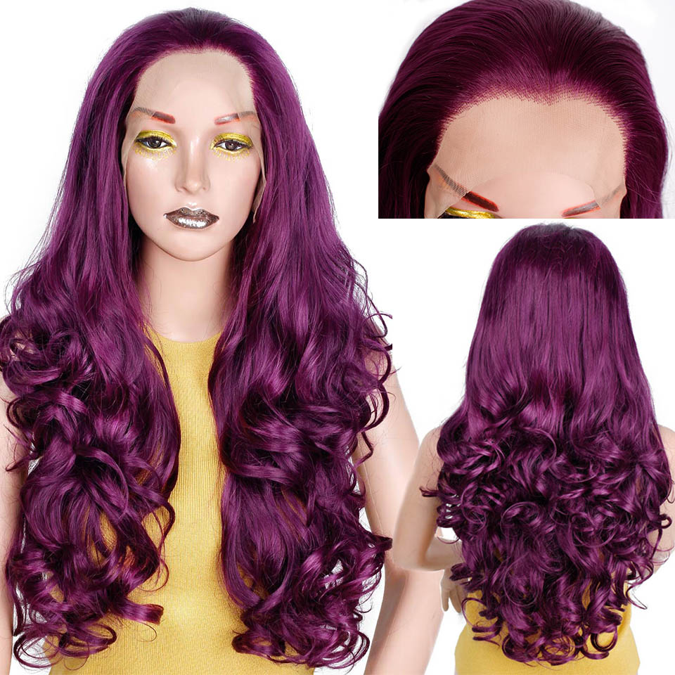 Free Part Long Purple Wavy Glueless Synthetic Lace Front