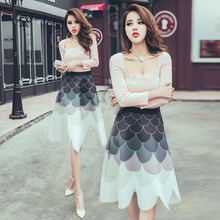 HIGH QUALITY New Fashion 2016 Designer Runway Suit Set Women's Square Collar Knitting Top + Gradient Color Petal Skirt Set