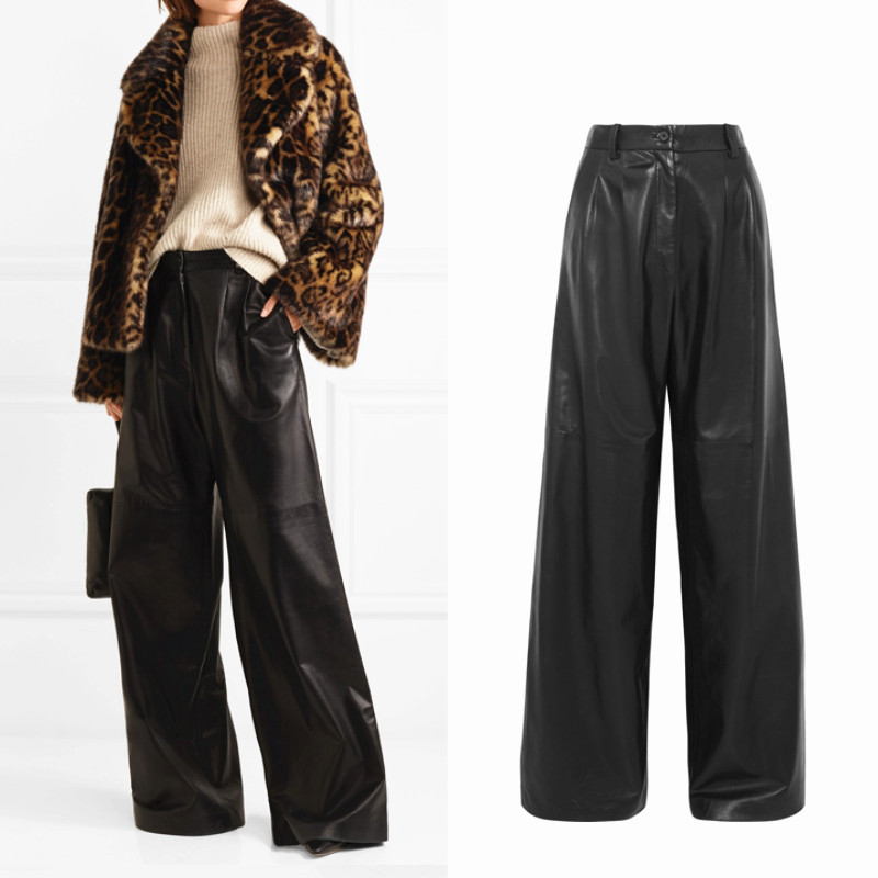 Peut s'adapter 190 cm hauteur plus longueur marque De Mode lavage à l'eau PU pantalon en cuir femelle punk hanche sac large jambe en cuir pantalon wq274