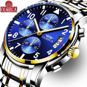 OLMECA Men's Casual Wrist Quartz Watches Luminous Chronograph Waterproof Dress Luxury Watch-Gold Blue Dial Relogio Masculino