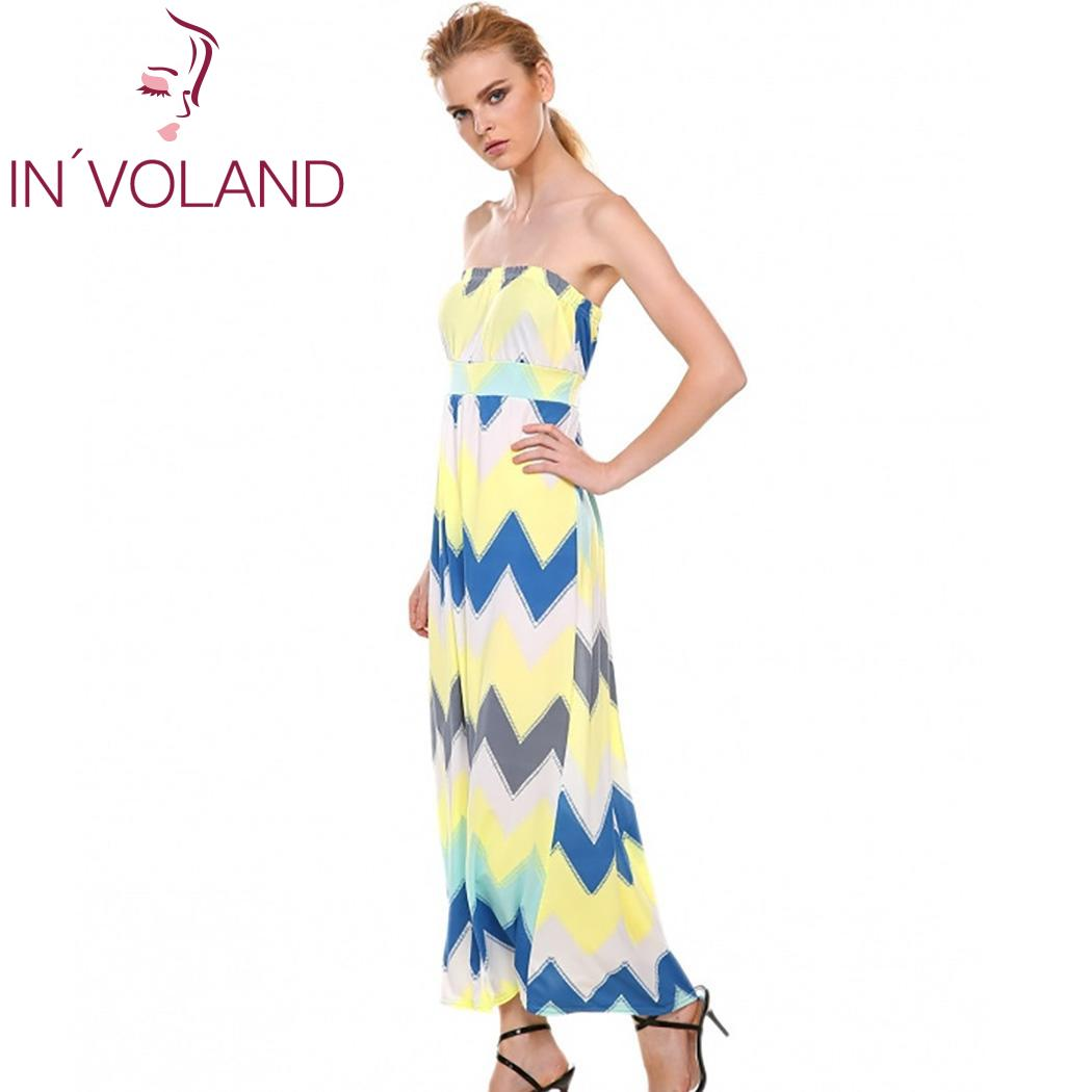 Geometric Women Casual New Prints Off Shoulder A-Line Pleated Hem Maxi Dress