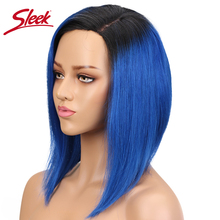 Sleek Human Hair L Part Bob Wig Remy Straight Human Hair Wig