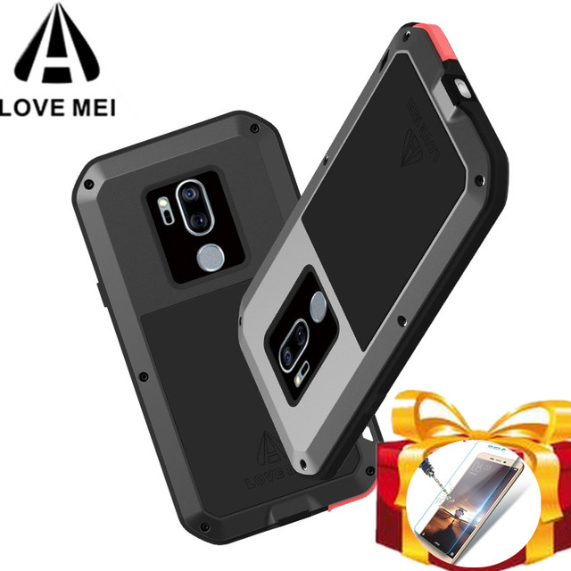 new product a6f2e 504e9 US $28.0 20% OFF|Gorilla glass filmGift) LOVE MEI Metal Waterproof Case For  LG G7 ThinQ Shockproof Cover phone case For LG G7 Powerful cover capa-in ...