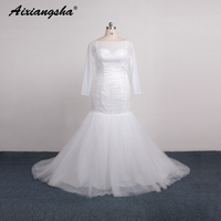 2016 Sheer Long Sleeve Wedding Dresses White Mermaid Tulle Simple Wedding Gowns Cheap High Quality China