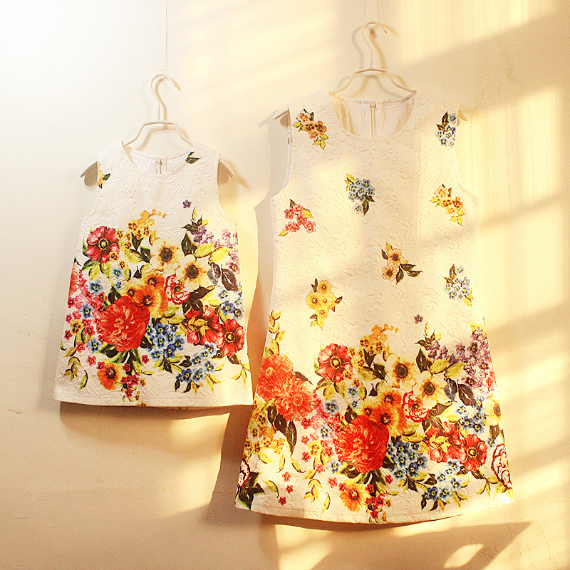 women brand American prints style pencil Sleeveless dress mother and daughter sundresses family matching clothes girls dresses