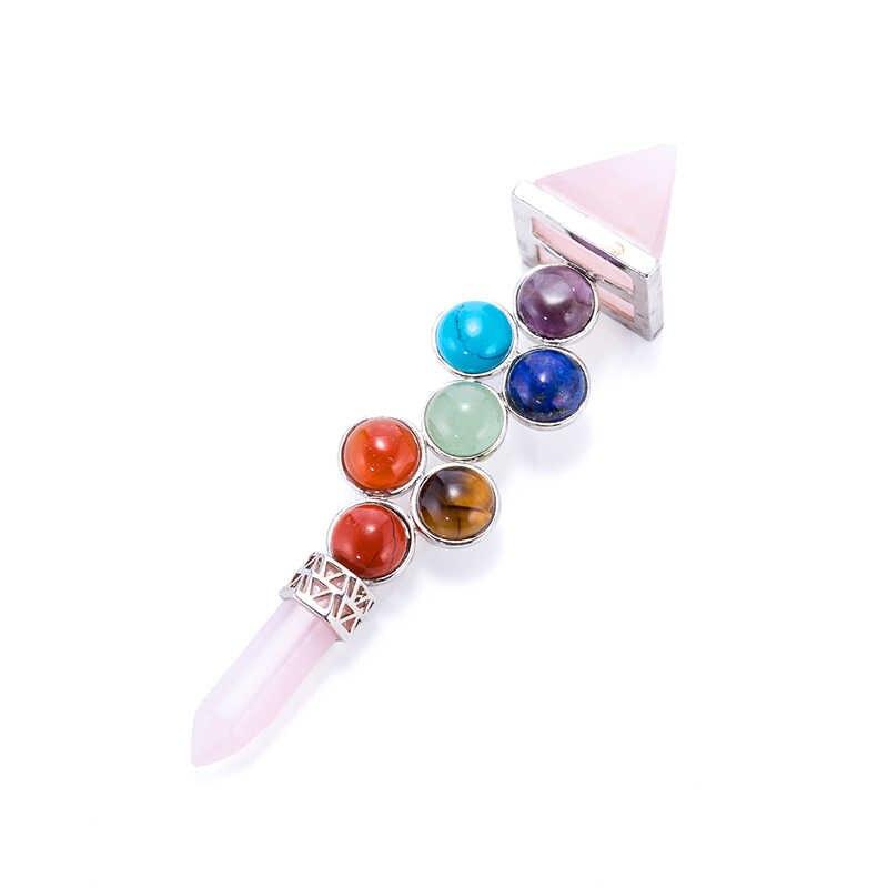 7 Chakra Wand Spiritual Healing Balancing Energy Stones Reiki Gemstone Necklace