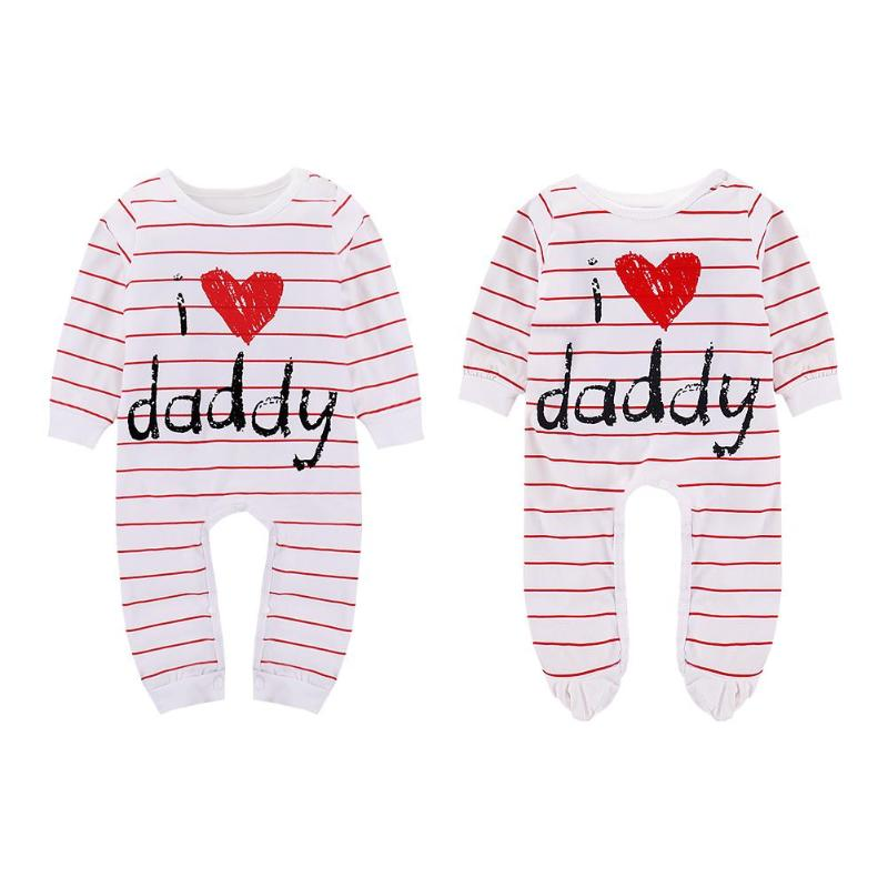 Unisex Baby Cute Stripe Love Daddy Print Long Sleeve Romper O-Neck Cotton Letters Soft Jumpsuit Baby Girls Boys Clothes
