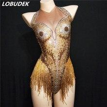 купить Women Sexy Bar Stage Performance Costume Gold Rhinestones Tassel Backless Bodysuit Nightclub DJ Singer Dance Latin Show Jumpsuit по цене 4272.72 рублей