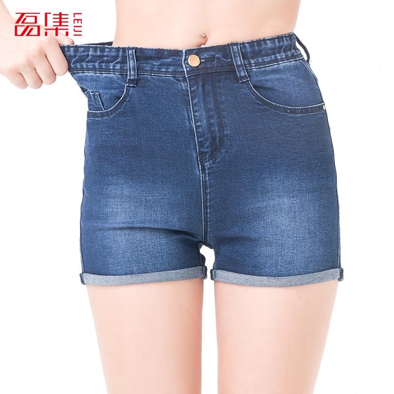 Leiji Fashion S 6XL 2017 New Summer Style Plus Size women High Waist Elastic Blue Casual Wash Straight Woman Shorts Femme смартфон highscreen fest xl pro blue