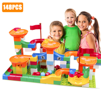 148 PCS Maze Ball Track Building Blocks Race Marble Run Toys ABS Funnel Slide Assemble Bricks Compatible Blocks
