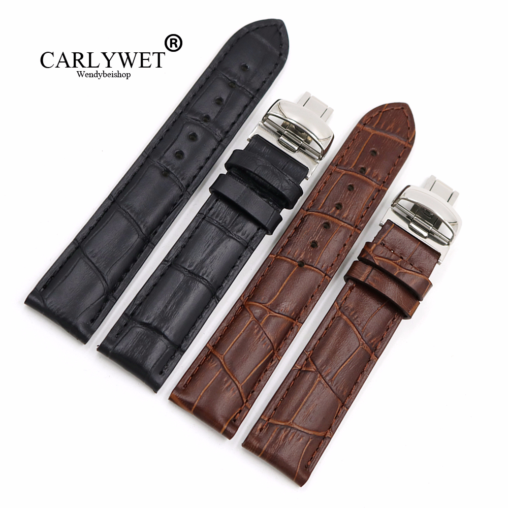 CARLYWET <font><b>19mm</b></font> Black Brown Genuine Leather Replacement Watch Band Strap Bracelet For <font><b>PRC200</b></font> T17 T461 T014430 T014410 image