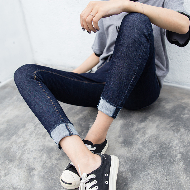 2017 spring and autumn Korean version of the new women's jeans slim waist elastic curling pants nine feet good goods