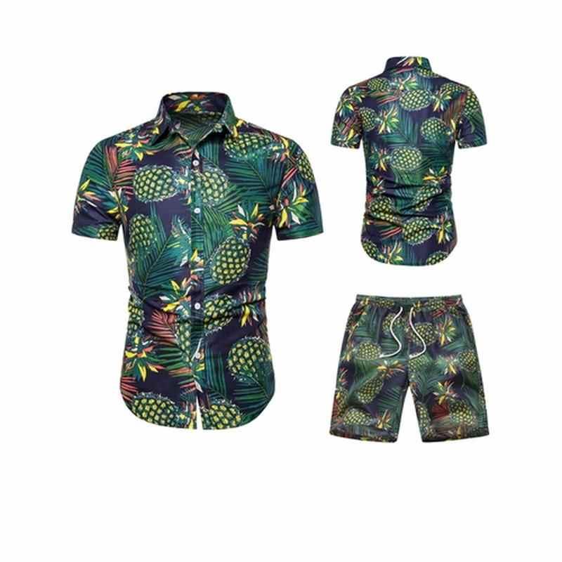 8254da9c5 2019 conjunto Casual de verano para hombre, ropa para hombre, camisa  Floral, pantalones cortos de playa, pantalones cortos, pantalones cortos,  traje ...