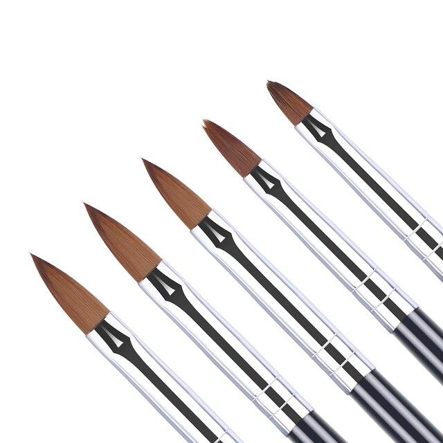 5PCS אקריליק מברשת גודל 2 #4 #6 #8 #10 # נייל אמנות מברשת גילוף פרח עט UV ג 'ל ציור ציור מברשת ציפורניים ידית כלי