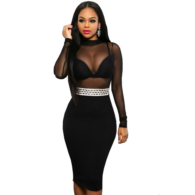 c0844ba68c ... Pencil Midi Mesh Patchwork Free Shipping Womens  official photos 13a7c  2d680 Sexy Party Dresses 2016 New Fashion Hollow Out Black Bodycon Dress  Halter ...