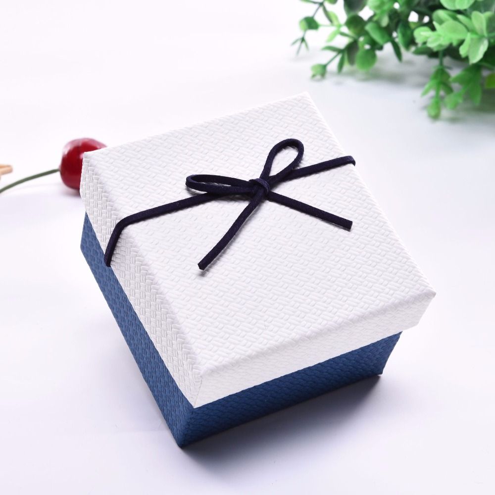 High Quality 6 Pack/Lot  Creative Box Jewelry Ribbon Bow Bracelet Watches Kraft Paper  9x8.5x5.5 cm Gift Box Cases with Pollow