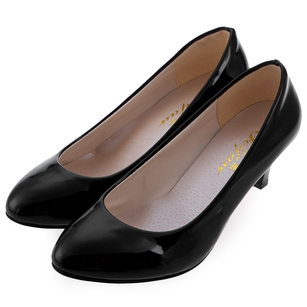Women PU Leather Med Heels Pumps Shoes Classic New High Quality Shoes Black Pumps Shoes For ...