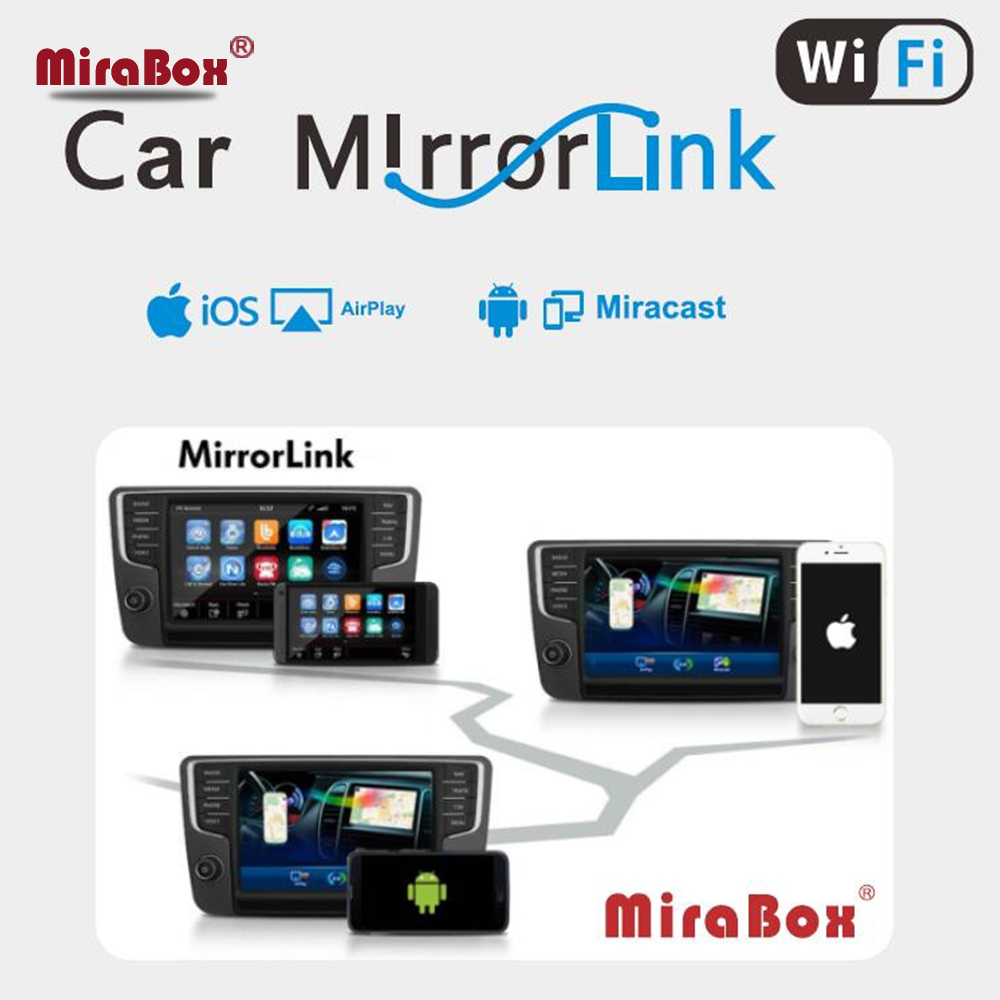 Mirabox voiture WiFi Airplay pour Allshare Cast DLNA airpartage Miracast affichage sans fil MirrorLink Box pour iOS11/12 et Android