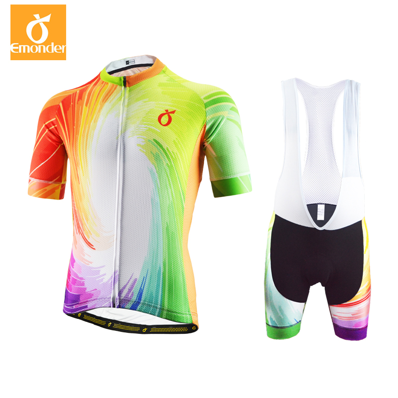 EMONDER Cycling Jersey 2018 Pro Team Men Short Sleeve Cycling Clothing Set 12D Pad Italian Antislip band Around Best Quality