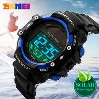 SKMEI Marka Güneş Enerjisi İzle Erkekler Spor Saatleri Askeri Açık Elbise Saat LED Dijital Kol Saatleri Su Geçirmez Relogio 1129