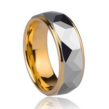 De alta calidad de 8mm ancho de oro chapado tungsten diseño de prisma para la joyería del hombre del anillo de bodas tamaño 7-13 envío gratis