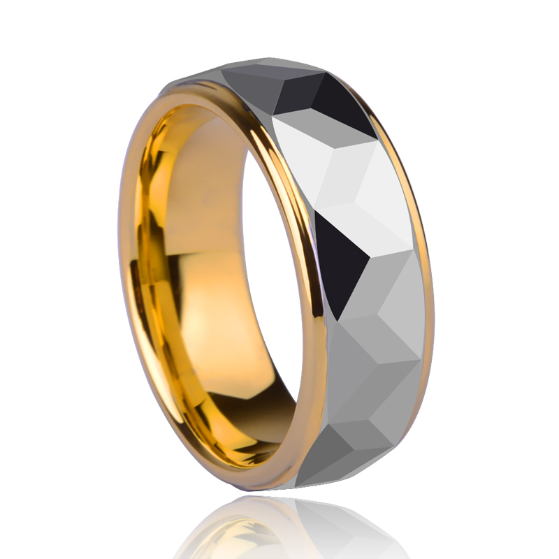 High Quality 8mm Width Gold Plating Tungsten Wedding Ring Prism Design for Woman Man's Jewelry US Size 5-13 Free Shipping kcchstar gold plating zinc alloy crystal finger ring for women golden transparent us size 8