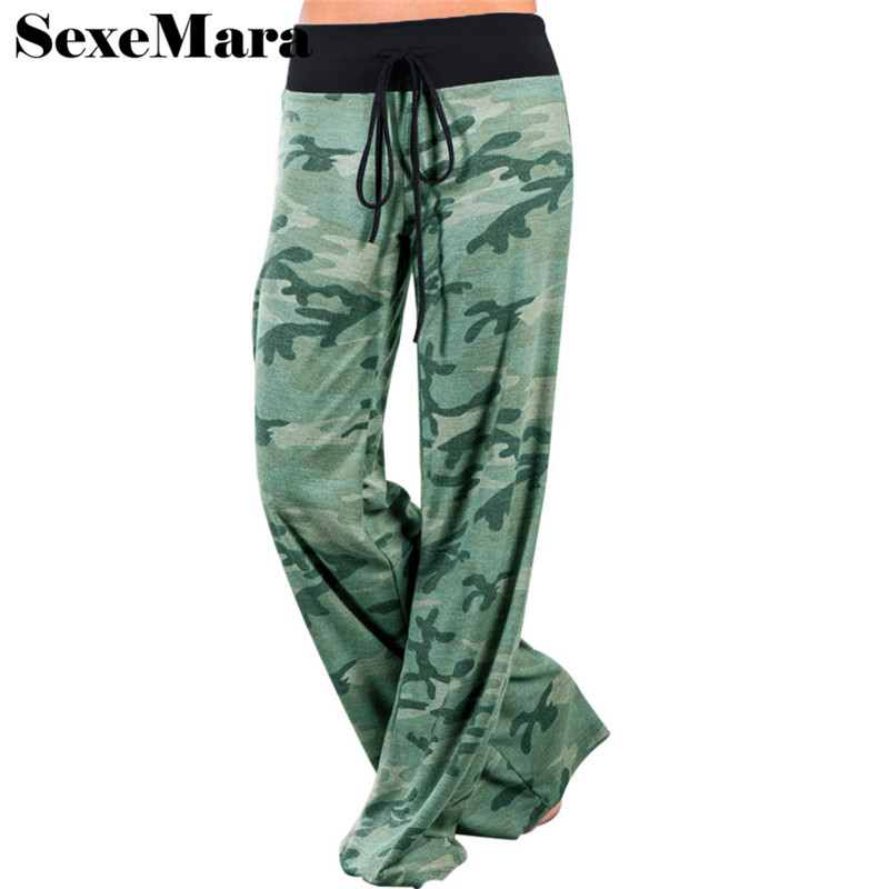 Buy SexeMara casual loose camouflage pants for women wide leg pants drawstring camo plus size sweatpants palazzo pants D38-I94 for $11.85 in AliExpress store