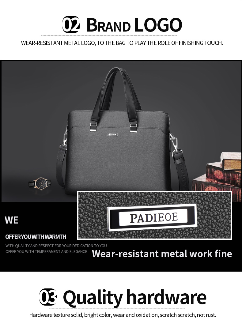 Padieoe Luxury Men s Briefcase High Quality PVC Documents Bag for Male Men  Portfolio for Laptop Computers Fashion Office Bags