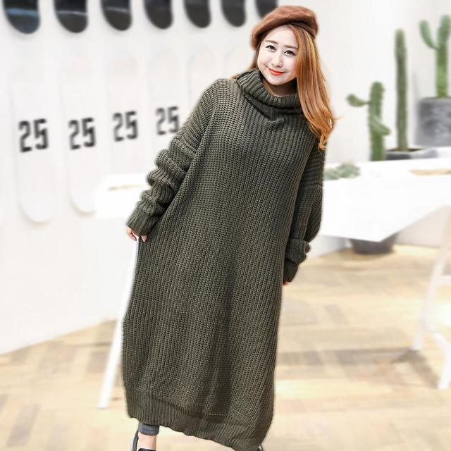 Plus Size Knitted Sweater Dress Winter Autumn Women Maxi Dress