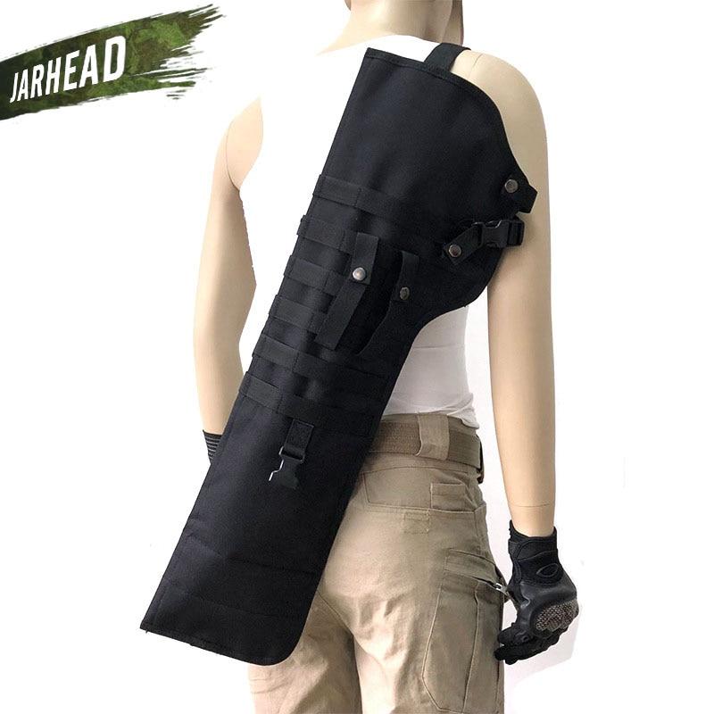 Outdoor Tactical AK Rifle Scabbard Molle Shoulder Bag Military Shoulder Sling Portable Padded Shotgun Holster Knife Backpack
