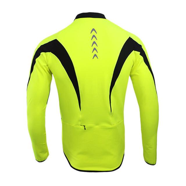 Arsuxeo 2017 Top Men Winter Thermal Fleece MTB Bike Bicycle Cycling Jersey Outdoor Sport Running Jacket Coat Fluorescent Green