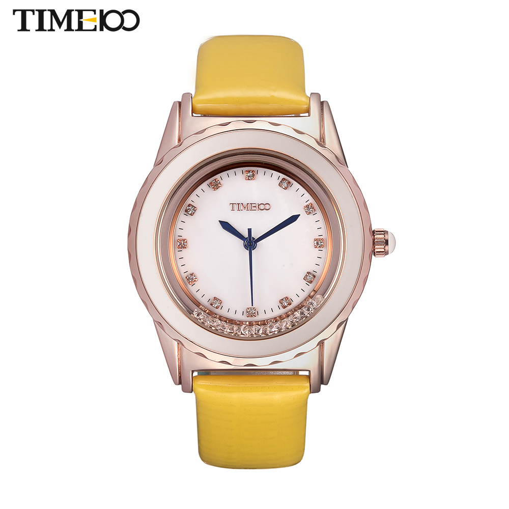 TIME100 Fashion Simple Fowling Crystal Dial Light Yellow Leather Strap Waterproof Women Diamond Quartz Dress Watches W50328L.04 4 time100 w40109m