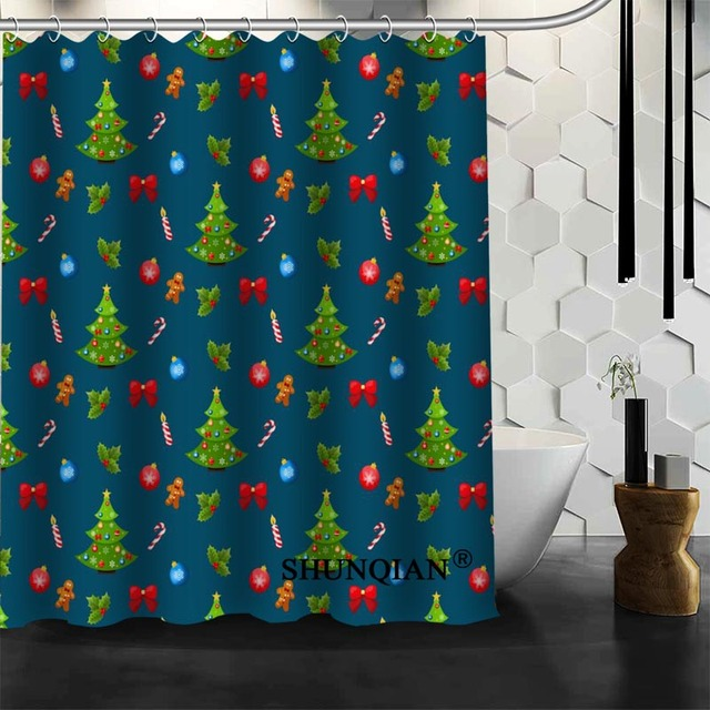 2017 Christmas Element Shower Curtain Decorations For Home Waterproof Fabric Bath Bathroom A94