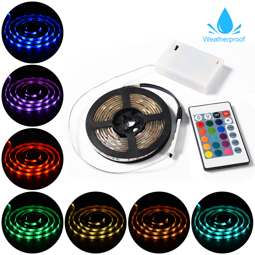 LEDGLE Battery Powered Strip Light RGB LED Light Kit Flexible LED Strip for Indoor Outdoor Decoration Waterproof Remote Control
