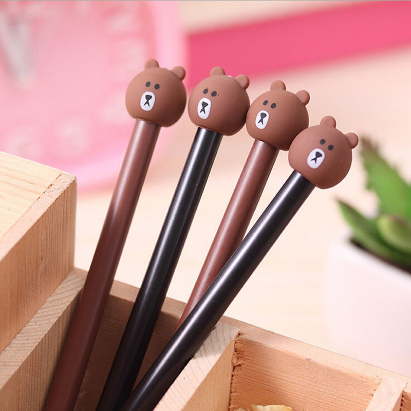 N55 4X Cute Kawaii Rilakkuma Silicone Gel Pen School Office Supply Kids Gift Student Stationery Writing Signing Pen