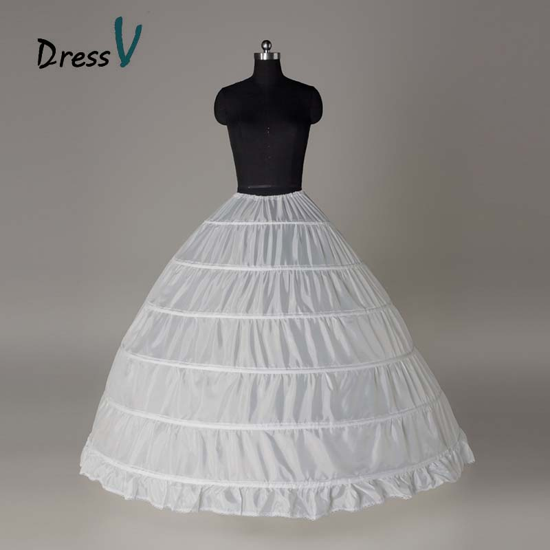 Dressv White Wedding Gown Petticoat 6 Hoops Cheap Ball Gown Underskirt for Wedding Gown Bridal Dress Wedding dress petticoat